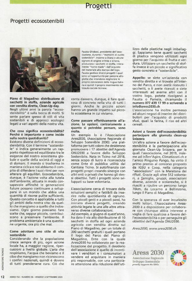 Agricoltore Ticinese Progetti Ecosostenibili 4.9.2020